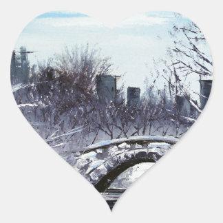New York Art, Central Park, Landscape Heart Sticker
