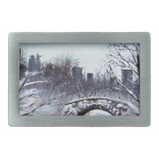 New York Art, Central Park, Landscape Rectangular Belt Buckles