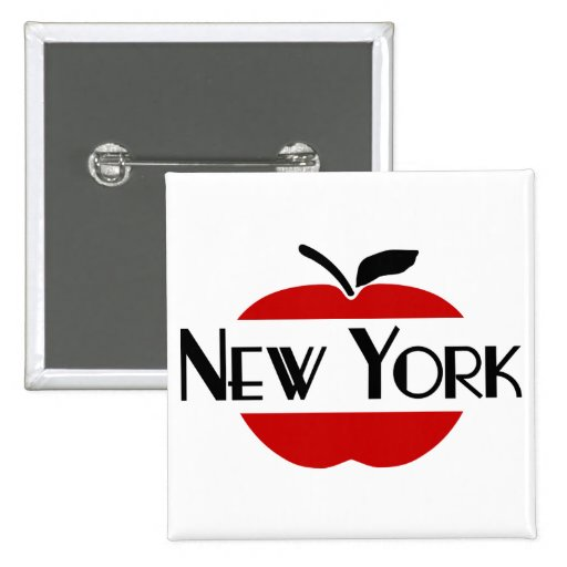 New York Art Deco With 2-Color Apple, Sliced 2 Inch Square Button