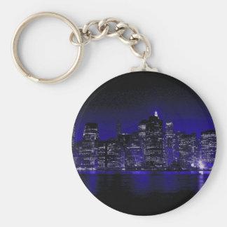 New York At Night Basic Round Button Keychain