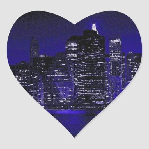 New York At Night Heart Sticker