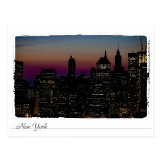 New York at night. Postcard