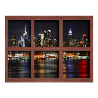 New York At Night - Redwood 4 Pane Window Poster
