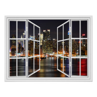 New York At Night White 24 Pane Open Window Poster