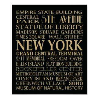New York Attractions Posters