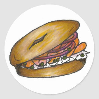 New York Bagel with Cream Cheese and Lox Stickers