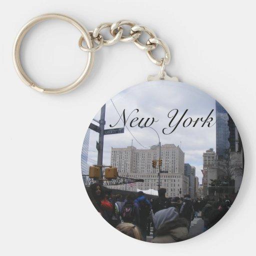 New York Basic Round Button Keychain