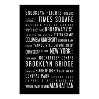 New York black and white poster