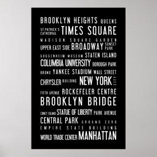 New York black and white poster