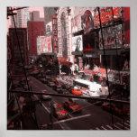 New York Black/White/Red Print