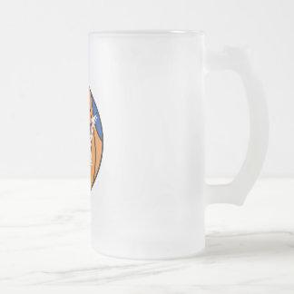 new york blue orange basketball frosted glass beer mug