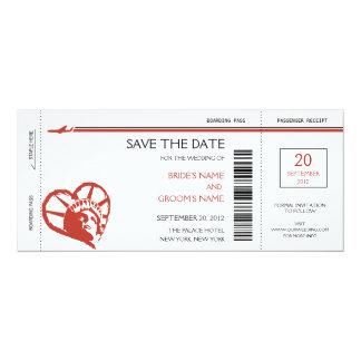 "New York Boarding Pass Save the Date Invitations 4"" X 9.25"" Invitation Card"