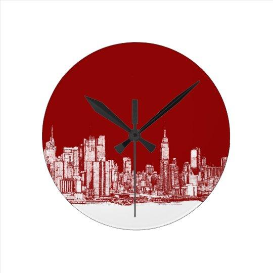 New York bold red Round Clock