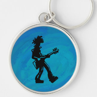 New York Boogie Nights Guitar Blue Silver-Colored Round Keychain