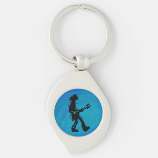 New York Boogie Nights Guitar Blue Silver-Colored Swirl Metal Keychain