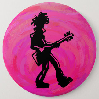 New York Boogie Nights Guitar Hot Pink Pinback Button