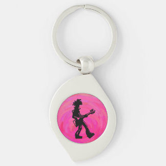 New York Boogie Nights Guitar Hot Pink Silver-Colored Swirl Metal Keychain