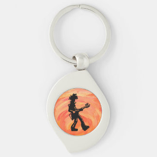 New York Boogie Nights Guitar Orange Silver-Colored Swirl Metal Keychain