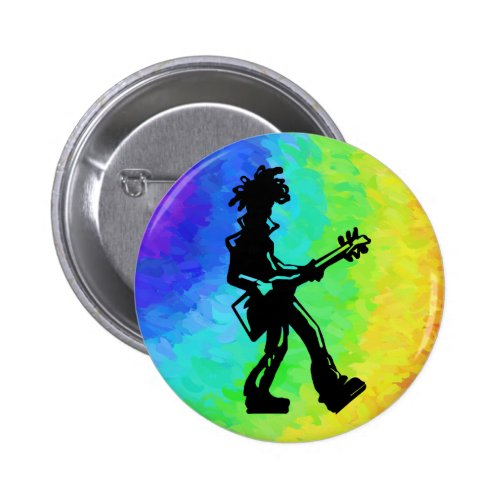 New York Boogie Nights Bass Guitar Rainbow Round Button