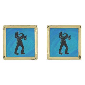 New York Boogie Nights Saxophone Blue Cufflinks