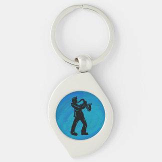 New York Boogie Nights Saxophone Blue Silver-Colored Swirl Metal Keychain