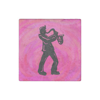 New York Boogie Nights Saxophone Hot Pink Stone Magnet