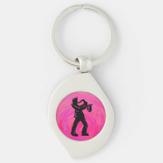 New York Boogie Nights Saxophone Hot Pink Silver-Colored Swirl Metal Keychain
