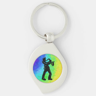 New York Boogie Nights Saxophone Rainbow Silver-Colored Swirl Metal Keychain