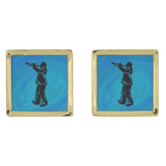 New York Boogie Nights Trumpet Blue Gold Cufflinks