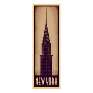 New York Bookmark Card with Skyscraper Silhouette Business Card Templates