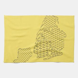 New York Borough Pattern Map Kitchen Towels