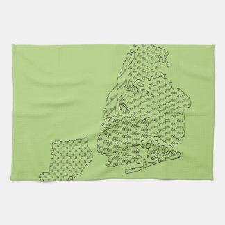 New York Borough Pattern Map Towels