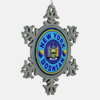 New York Bosnian American Xmas Decoration. Snowflake Pewter Christmas Ornament