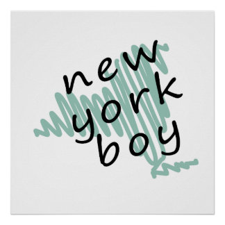 New York Boy on Child's New York Map Drawing Poster