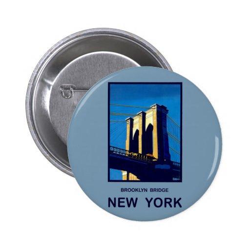 New York Brooklyn Bridge 2 Inch Round Button