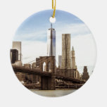 New York Brooklyn bridge Double-Sided Ceramic Round Christmas Ornament