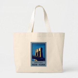 New York Brooklyn Bridge Large Tote Bag