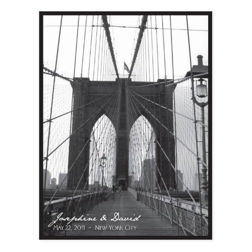 New York Brooklyn Bridge Save the Date Postcards