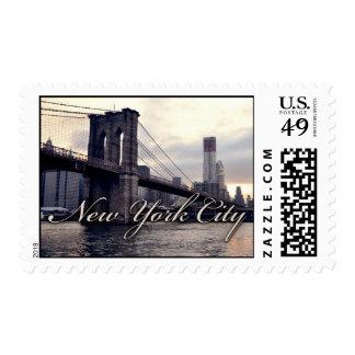 New York Brooklyn Bridge Sunset Postage