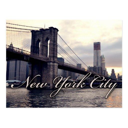 New York Brooklyn Bridge Sunset Postcard