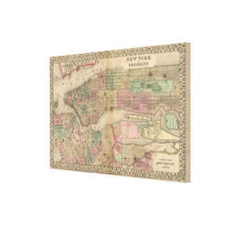 New York, Brooklyn Map by Mitchell Canvas Print