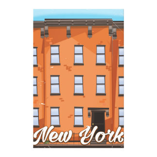 New York Brownstone travel poster cartoon Canvas Print