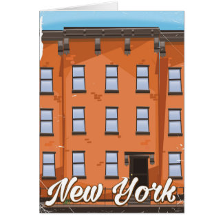 New York Brownstone travel poster cartoon Card