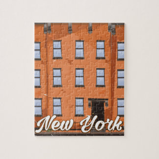 New York Brownstone travel poster cartoon Jigsaw Puzzle