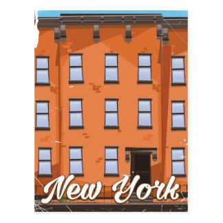 New York Brownstone travel poster cartoon Postcard
