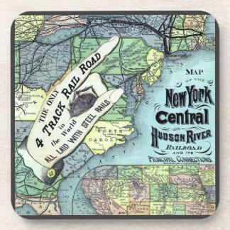 New York Central and Hudson River Map Beverage Coaster