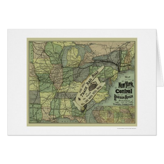 New York Central & Hudson Railroad Map 1876 Card
