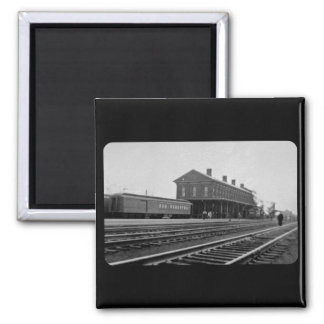 New York Central Railroad Depot Vintage 2 Inch Square Magnet