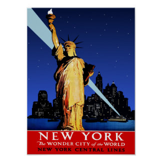 New York Central Railroad Travel Poster for NYC