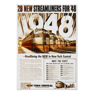 New York Central Streamliners 1948 Poster